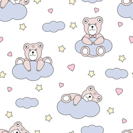 Cute bear and clouds. Hearts and stars. Seamless pattern. Vector illustration.