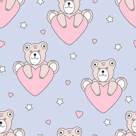 Cute bears and hearts seamless pattern. Kids design. Vector illustration.  イラスト・ベクター素材