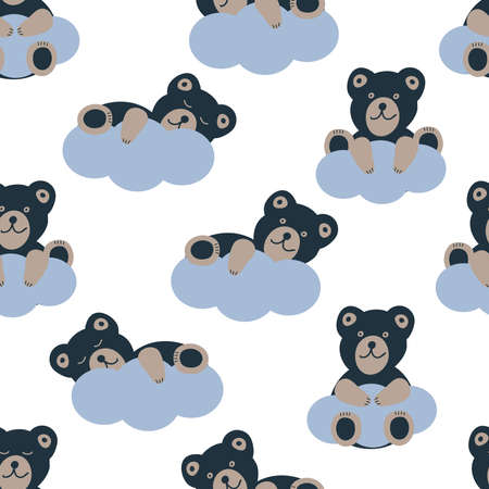 Cute bears and clouds. Seamless pattern. Vector illustration.  イラスト・ベクター素材