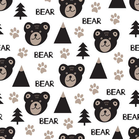 Bear. Seamless pattern. Vector illustration.