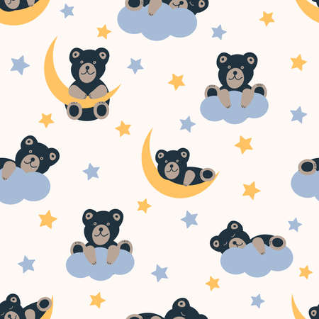 Cute bears, moon, stars and clouds. Seamless pattern. Vector illustration.