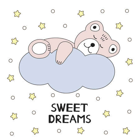 Cute bear sleeping on a cloud. Sweet dreams card. Vector illustration.  イラスト・ベクター素材