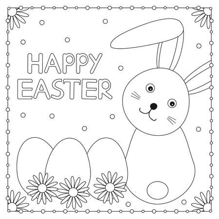 Happy Easter card. Cute bunny, eggs and flowers. Coloring page. Vector illustration.  イラスト・ベクター素材