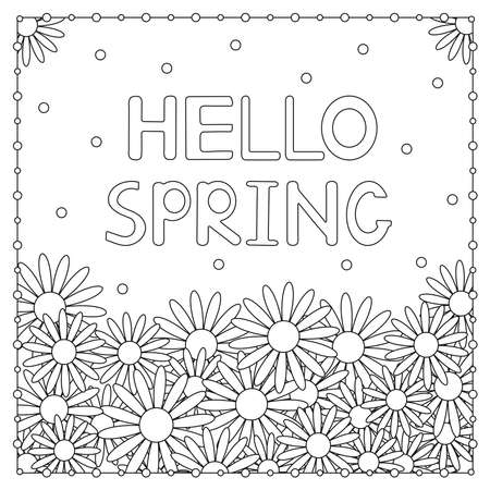 Hello spring. Flowers. Coloring page. Vector illustration.  イラスト・ベクター素材