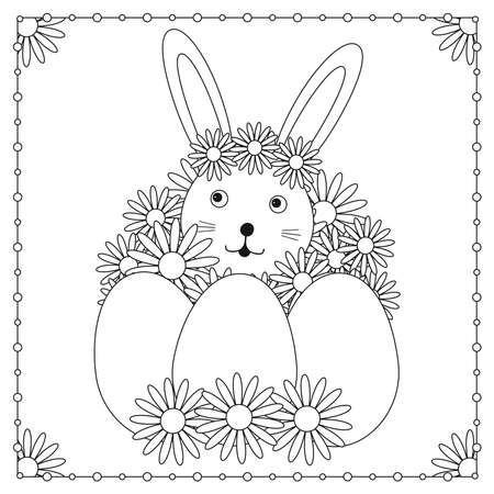 Easter card. Cute bunny, eggs and flowers. Coloring page. Vector illustration.  イラスト・ベクター素材