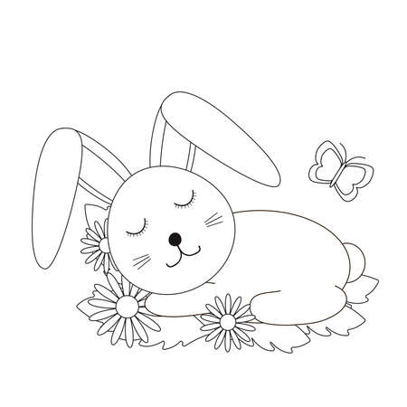 Cute bunny and flowers. Coloring page. Vector illustration.