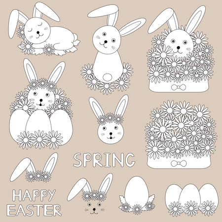 Happy Easter. Cute bunny and flowers. Digital stamps. Clip art. Spring coloring. Vector illustration.
