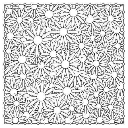 Flowers coloring page. Floral background. Vector illustration.