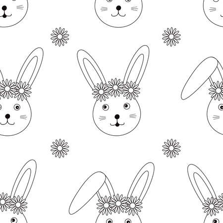 Cute bunny and flowers seamless pattern. Rabbit digital paper. Vector illustration.  イラスト・ベクター素材