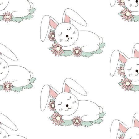 Cute bunny sleeping and flowers seamless pattern. Rabbit digital paper. Vector illustration.