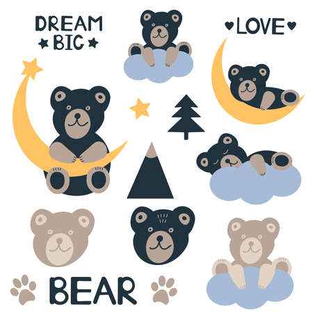 Cute bears set. Baby bears. Vector illustration.