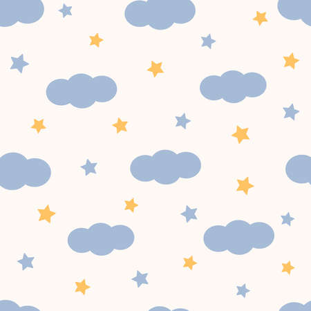 Clouds seamless pattern. Stars. Blue and yellow. Vector illustration.