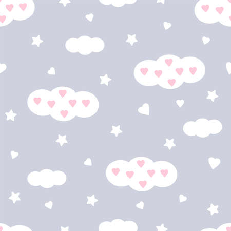 Clouds seamless pattern. Hearts and stars. Cute kids design. Vector illustration.  イラスト・ベクター素材