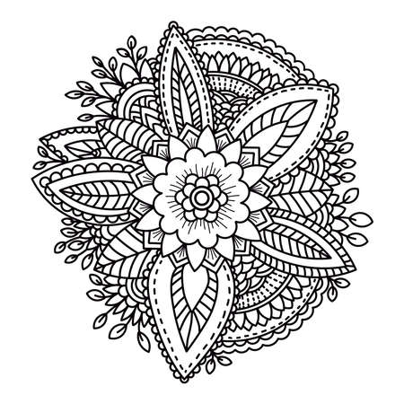 Flower, floral mandala. Coloring page. Hand drawn. Vector illustration.