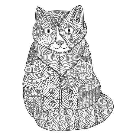 Cat coloring page. Coloring page for adult. Vector illustration.  イラスト・ベクター素材