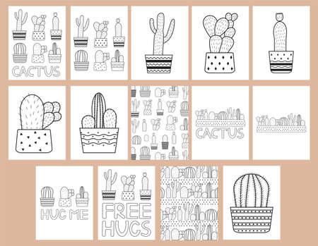 Cactuses. Coloring pages set. Vector illustration. Vektorgrafik