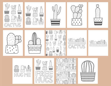 Cactuses. Coloring pages set. Vector illustration. Vetores