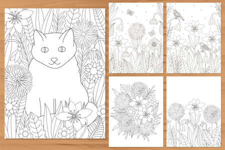 Flowers coloring pages. Cat coloring. Floral coloring. Adult coloring set. Vector illustration.