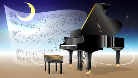 Moonlit grand piano and sheet music