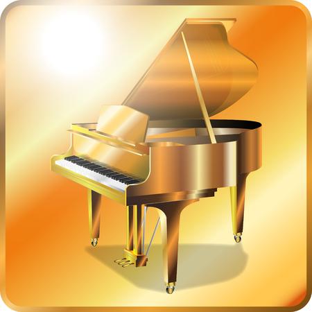 Illustration of Gold grand piano