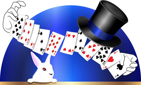 Playing cards magic and top hat with rabbit Stok Fotoğraf