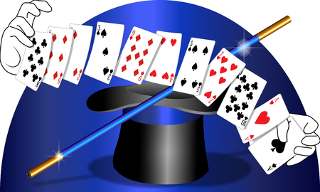 Playing cards magic and top hat