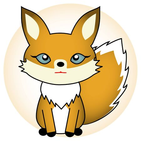 Illustration of a cute young fox
