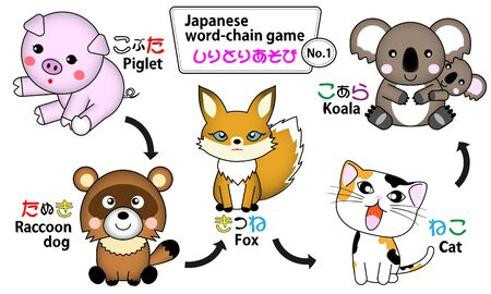 The Japanese word-chain game play was made an illustration.  イラスト・ベクター素材