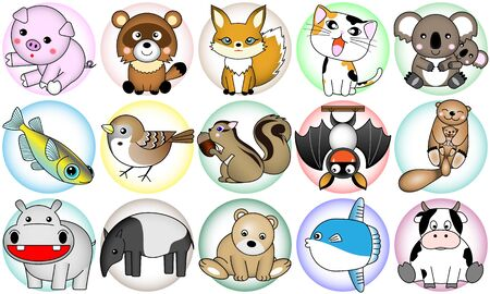 15 kinds of the animal, chicken and fish were made an icon wind. Ilustracja