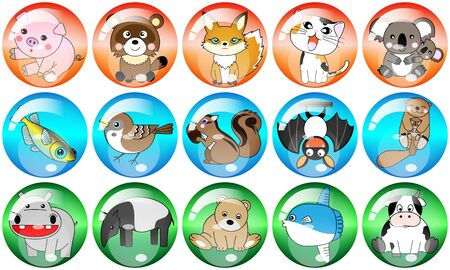 15 kinds of the animal, chicken and fish were made in order to use it as an icon or a button.