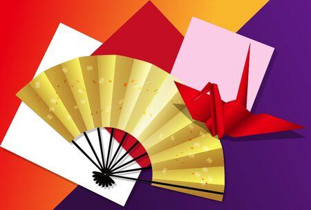 Folding fan and crane origami postcard 02 Çizim