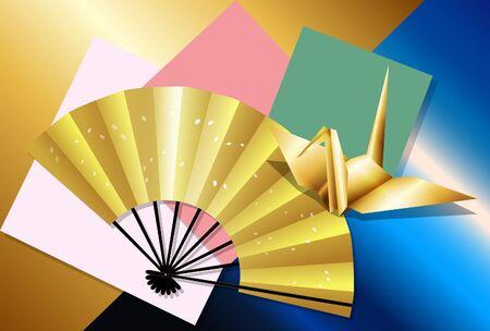 Folding fan and crane origami postcard 03