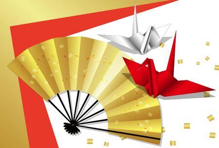 Folding fan and crane origami postcard 04 Çizim