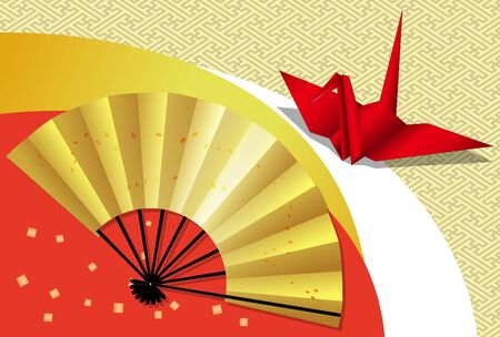 Folding fan and crane origami postcard 05