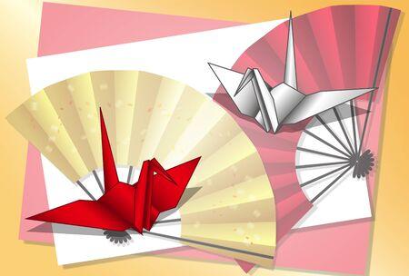 Folding fan and crane origami postcard 06 Çizim