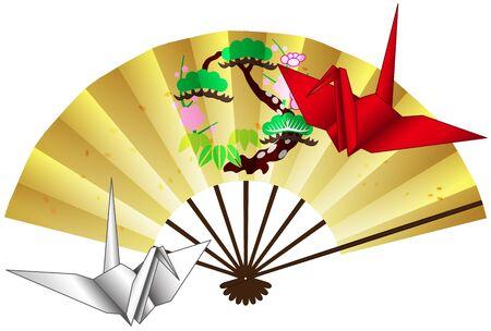 Folding fan and crane origami postcard 09 Çizim