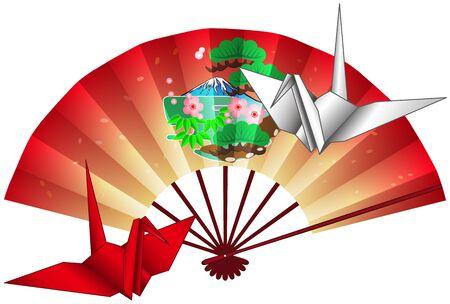 Folding fan and crane origami postcard 10