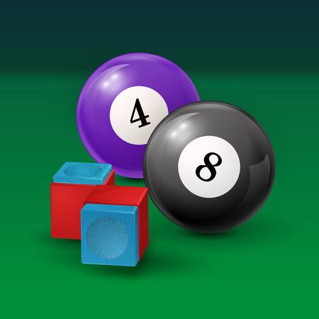 billiards halls: Pool table background  illustration with billiard balls and billiard chalk. EPS 10 Illustration