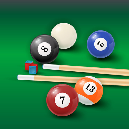 billiards halls: Pool table background with white and black  pool ball, chalk and cue. EPS 10