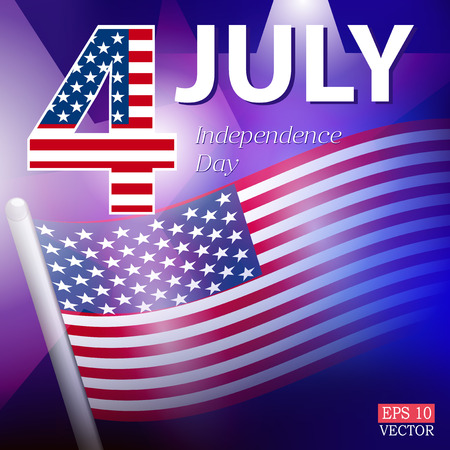 celebratory: American Independence Day. Celebratory background with banner and stars