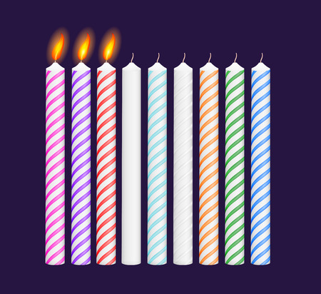 lit candles: Set of birthday multicolored candles. New, burning candles. Vector illustration. EPS 10
