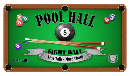 pool hall: Billiard poster. Pool hall - Eight ball. EPS 10
