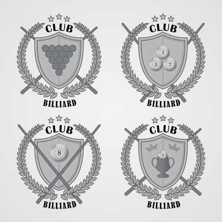 pool hall: Set of billiard logos and design elements. EPS 10