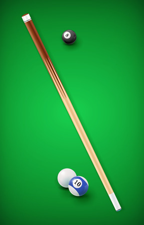 9 ball billiards: Billiard balls in a pool table. EPS 10 Illustration
