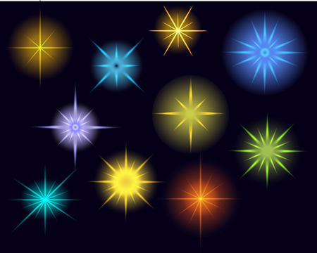 Vector glowing stars, lights and sparkles. Transparent effects. EPS 10