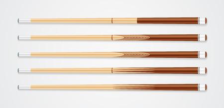 Billiard cue sticks on white background. EPS 10 Vector