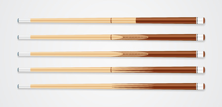 Billiard cue sticks on white background. EPS 10