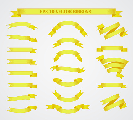 ps: Design elements. Set of Yellow vector ribbons or banners. PS 10