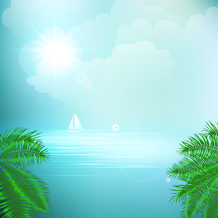 View of tropical sea between the palm trees under blue sky. Vector illustration.