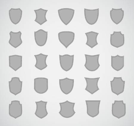 shield: Grey silhouette shield design set of various shapes.
